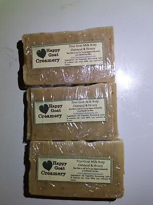 3 BARS OATMEAL & HONEY VEGETABLE GOAT MILK SOAP RICH DELUXE DYE FREE HAPPY GOAT