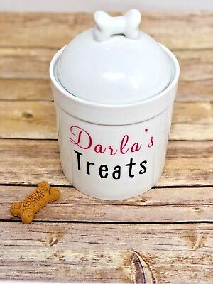 Personalized Dog Treat Jar and Canister with Name - Dog Bone Lid - Ceramic