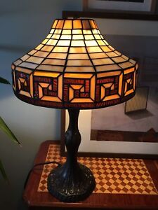 """Brand new 12"""" stained glass lamp in Greek Key design motif"""