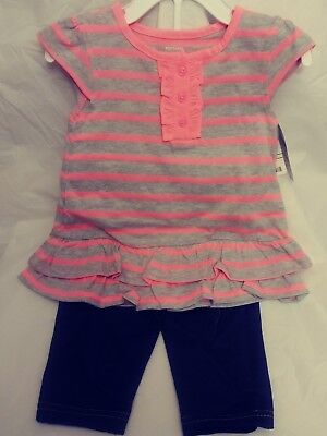 Carter's Baby Girl Playwear Two Piece Capri Short Sleeve Set Size 24 months NWT