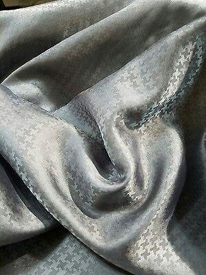 "10-Yards 60"" USA Vtg RAYON JACQUARD CHECK Apparel: Jacket/Coat LINING Fabric GRY"