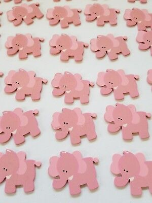 Baby Elephant Cut Out (30pcs Baby Shower small pink elephant wooden cut)