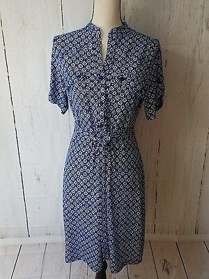 Valerie Bertinelli Womens Blue   White Shirt Dress Short Sleeve Tie Waist  Sz 8