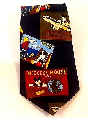 Mickey Unlimited Disney Mouse Postcard Tavel Mens Novelty Neck Tie