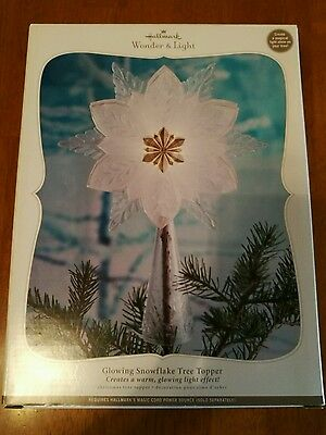 Hallmark Wonder and Light Glowing Snowflake Tree Topper Magic Cord Christmas