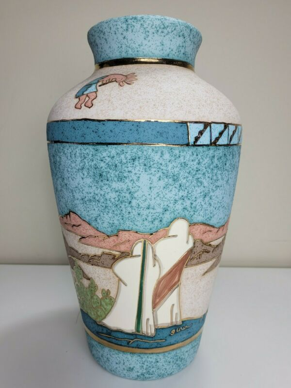 Gina Arrighetti 22K Gold Trim Southwestern Art Pottery Vase Signed New Mexico