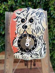 Vtg German Dog Wall Clock w/Moving Eye Trenkle Painted Wood Pendulum w/Key WORKS