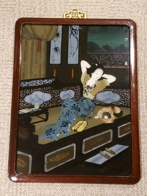 RARE - VINTAGE Chinese Reverse Painted Glass Eglomise Painting WOMAN WITH CAT
