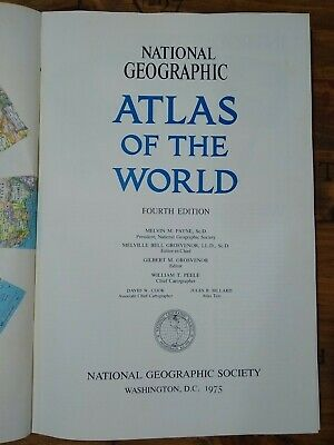 1975 National Geographic Atlas of the World 4th Edition Cover Oversized