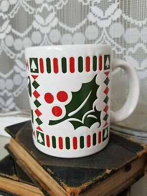 Waechtersbach Spain Holly Berry Christmas Coffee Mug Cup Vintage Snowflake Christmas Coffee Cup