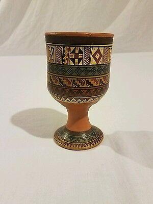 Cusco Peru Pottery Cup hand painted Peruvian goblet glass decor peru tribal vase
