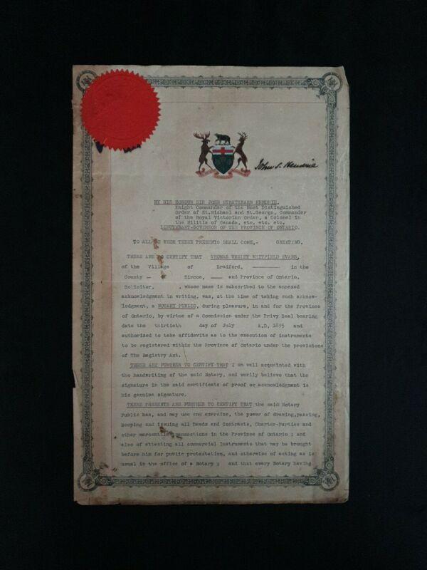 Ontario Canada Royal Canadian Manuscript Document Signed Duke Governor Royalty