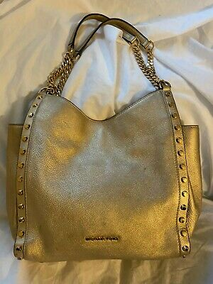 Michael Kors Newbury Gold Leather Studded Medium Chain Shoulder Tote Carryall