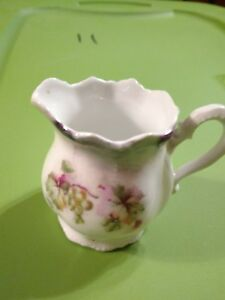 OLD LEUCHTENBURG GERMANY CHINA PITCHER CREAMER, Grapes and leaves pattern