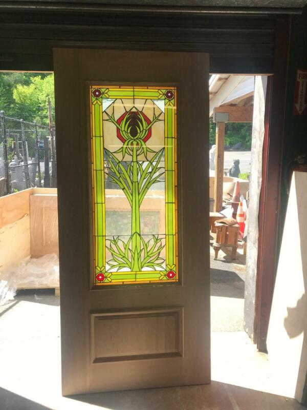 BEAUTIFUL HAND MADE STAINED GLASS ARTS AND CRAFTS STYLE ENTRY DOOR - FIFE0417