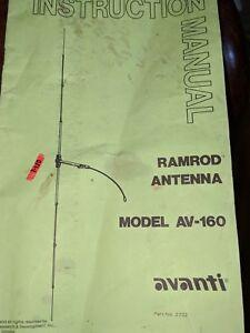Avanti antenna av-160 ramrod original manual