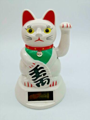 "Feng Shui BECKONING WHITE CAT Wealth Lucky Waving Kitty Maneki Neko 5"" US"