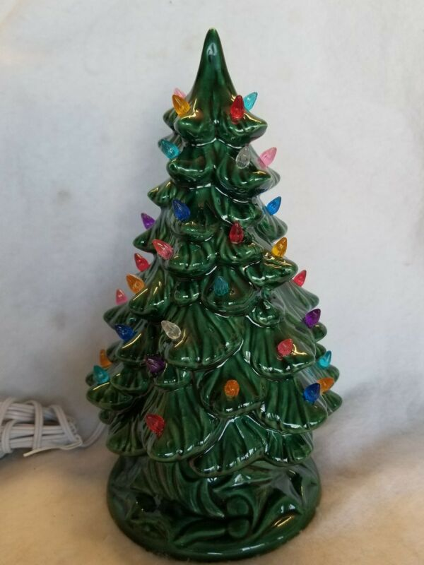 Ceramic Christmas Green Tree Vintage. New made in USA