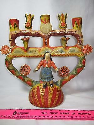 Vintage Mexican Pottery Tree of Life Candelabra Aurelio Flores Folk Art