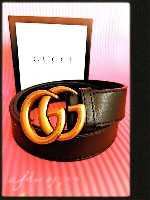 New GUCCI-Double Belt Men Black Gold Classic Belt. 110CM
