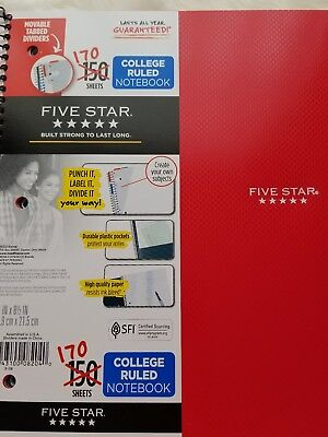 Five Star College Ruled Notebook 170 Sheets Red Cover Brand New