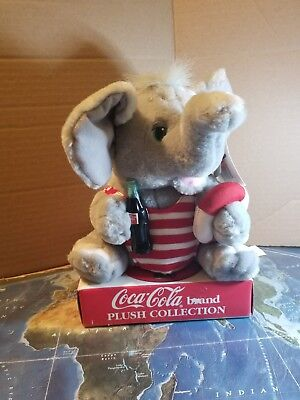 """Coca-Cola Plush Collection Cute 11"""" Elephant in Striped Swimsuit New w/Tags"""