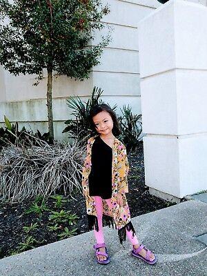 US Stock Toddler Girls Floral Yellow fashion Kimono Shawl Cardigan Outwear 3 5](Toddler Kimono)