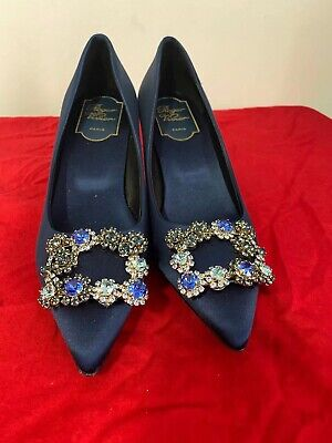 roger vivier Silk Flower Strass Pumps 37