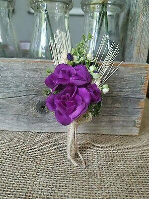 Wedding Boutonniere (Boutineer) - Purple (Plum) Rose with Wheat - Ivory - Plum Wedding