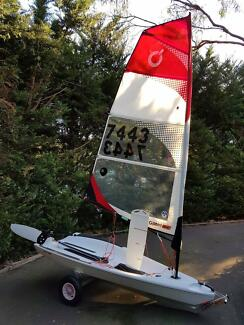 Open Bic junior sailing dinghy ready to go