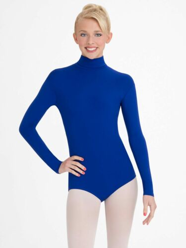NEW WITH TAGS Capezio Turtleneck Long Sleeve Leotard, Royal Blue, TB123