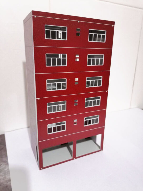 DIY Train Railway Modern Tall Business Building Office HO OO Scale Red 20cm