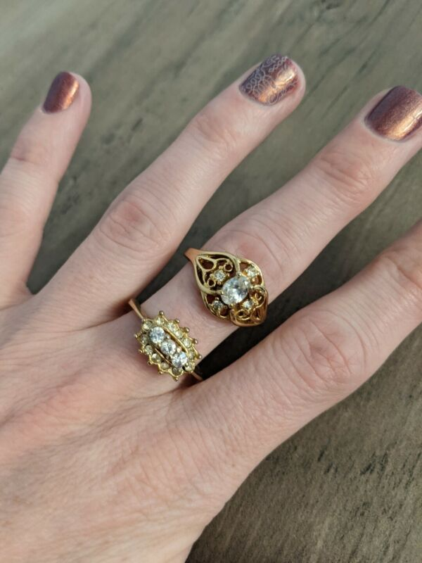 Vintage Costume Jewelry Rings Size 8, Gold Crystal Cocktail Antique Lot Of 2