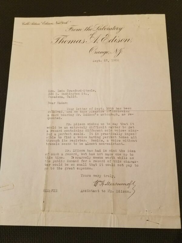 William Henry Meadowcroft JSA Signed Thomas Edison 1922 Letter Certified Auto