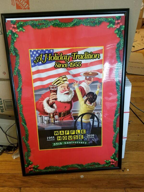 Rare Vintage WAFFLE HOUSE Restaurant Diner Sign Breakfast Food Santa Christmas