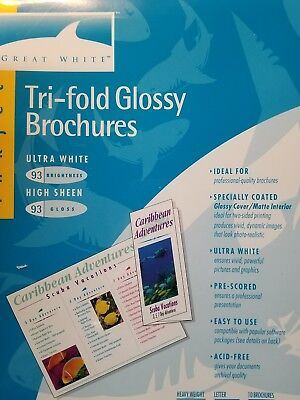 Make Tri Fold Brochure (GREAT WHITE BRAND ~ TRI-FOLD ~ GLOSSY BROCHURES ~ ULTRA WHITE ~ SET OF 10 ~)