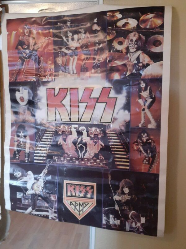 """Vintage KISS Army Jumbo Poster 42""""x 58"""" 1977 AUCOIN Boutwell"""
