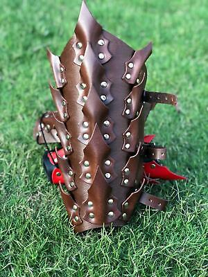 - TROJAN SPARTAN ROMAN Gladiator Black Leather GREAVES LEG SHIN GUARD ARMOR