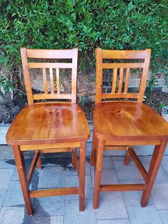 2 x Timber  bar stools