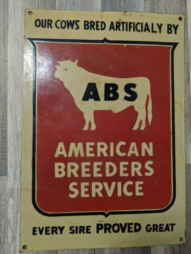 Vtg ABS AMERICAN BREEDERS SERVICE Porcelain Sign BULL Artificial Insemination