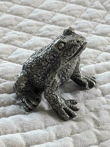 """SOLID PEWTER FROG, 1-1/4"""""""