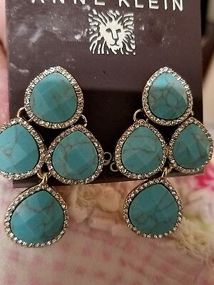 Anne Klein Simulated Turquoise with Pave Rhinestones Clip Earrings