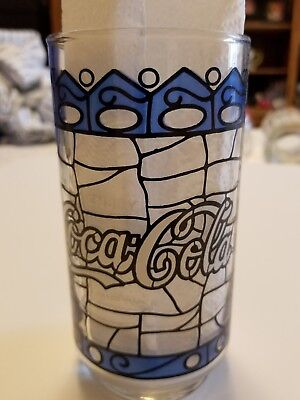 Vintage 1970's Coca Cola Stained Glass Jack In The Box Blue Tumbler!