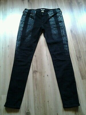 True Religion Jeans schwarz mit Silber,  low rise super skinny, Gr. 27