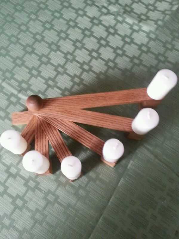 """Tiered candle holder - stained wood for 6 candles with 5/16 """" base tapered/solid"""