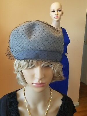 vintage 1950s Union Made gray hat with netting hat feels like wool