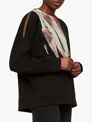 All Saints XS 6 8 10 Sweatshirt Jumper Sweater Top Black Feathers...