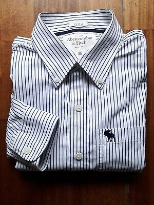 Abercrombie & Fitch Button Down Shirt Size M Blue White Striped Muscle Fit