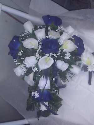LARGE WEDDING BOUQUET NAVY BLUE AND WHITE CALA LILIES CASCADE  AND BOUT