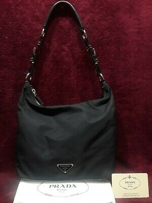 PRADA Black Vela Nylon Leather Hobo Bag w Dust Bag & Card